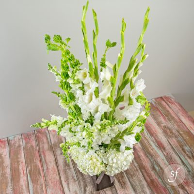 Statuesque white arrangement featuring hydrangeas, gladioli, snapdragons, and bells of Ireland in a tall, sleek and modern black vase is a stunning sympathy arrangement for funerals and celebrations of life.