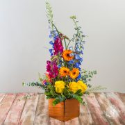 Bright and modern, this jewel-toned arrangement in a shiny, square copper base features orange gerbera daisies, yellow roses, and blue delphinium.