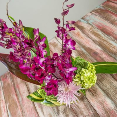 Tall stocks full of small purple orchid blossoms headline this modern, abstract piece with asian influences. Green hydrangea, spider mums, and folded greenery allow the purple blooms to shine bright.
