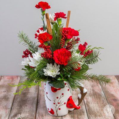Perfect flowers for Christmas, this bright and cheerful arrangement will warm hearts. Designed as a wintertime flower arrangement by the florists at Steve's Floral, Chirp is available for flower delivery.