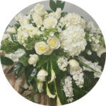 Flowers to decorate a casket at a funeral
