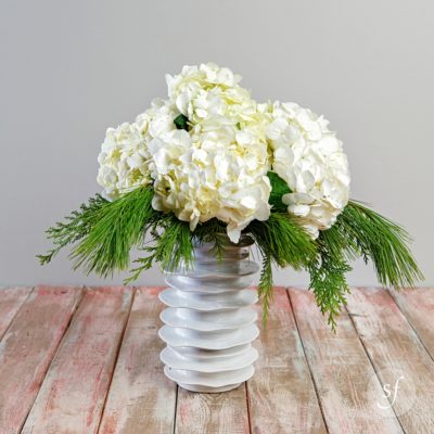 White mounded hydrangea surrounded by winter greenery in a modern white ceramic vase makes the perfect holiday centerpiece for your family gathering.