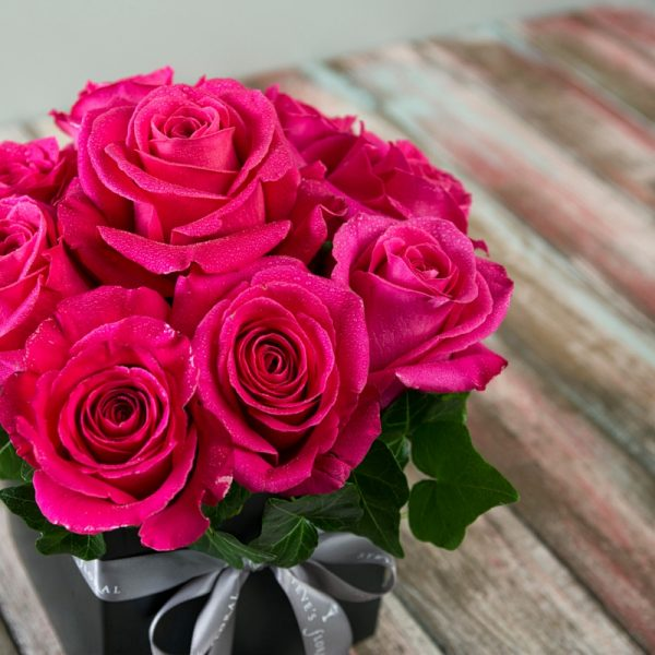 9 bright pink pave roses in modern square black vase.