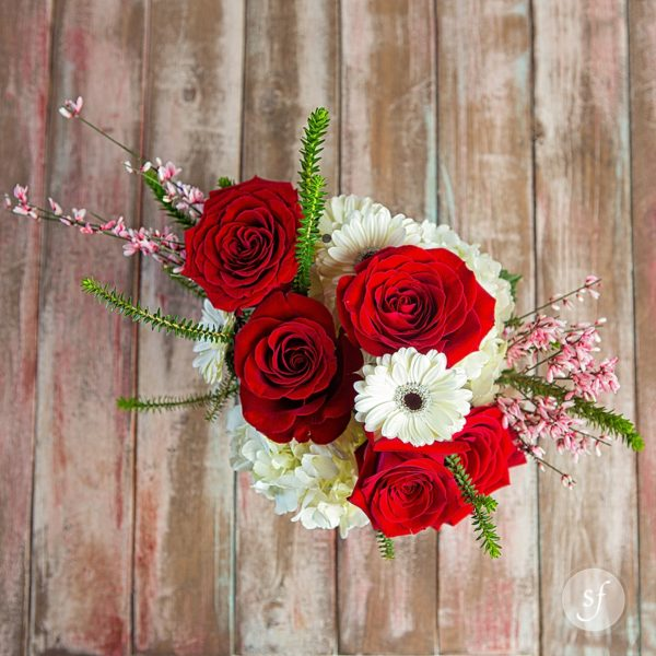 Red roses and white hydrangea and daisies headline this petite arrangement, perfect for Valentine's Day.