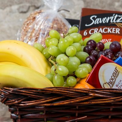 Deluxe gourmet fruit and snack basket