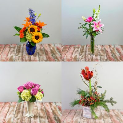 Four seasonal flower arrangements illustrate the breadth of available options for Steve's Floral's Deal of the Day options.