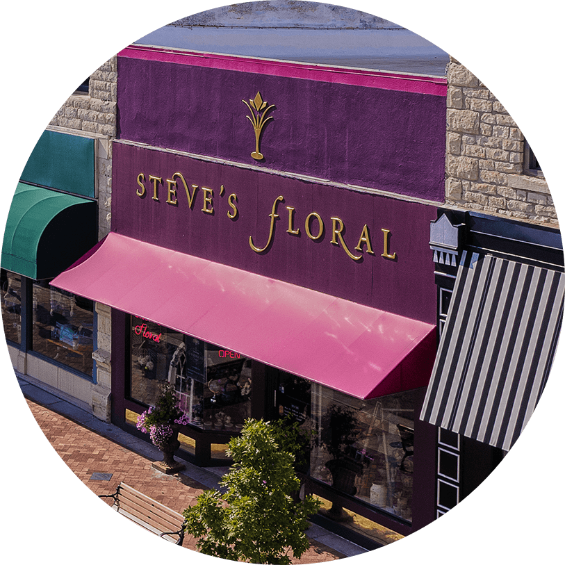 Steve's Floral storefront in downtown Manhattan, Kansas.